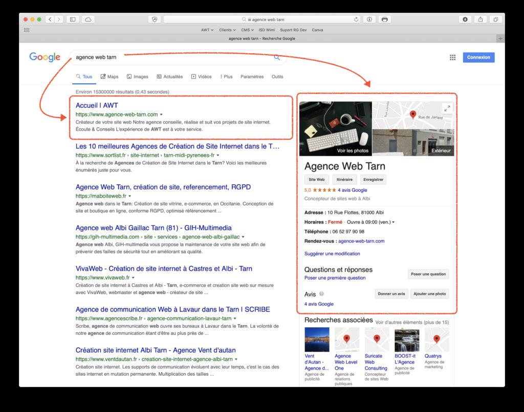 Agence Web Tarn première place référencement Google