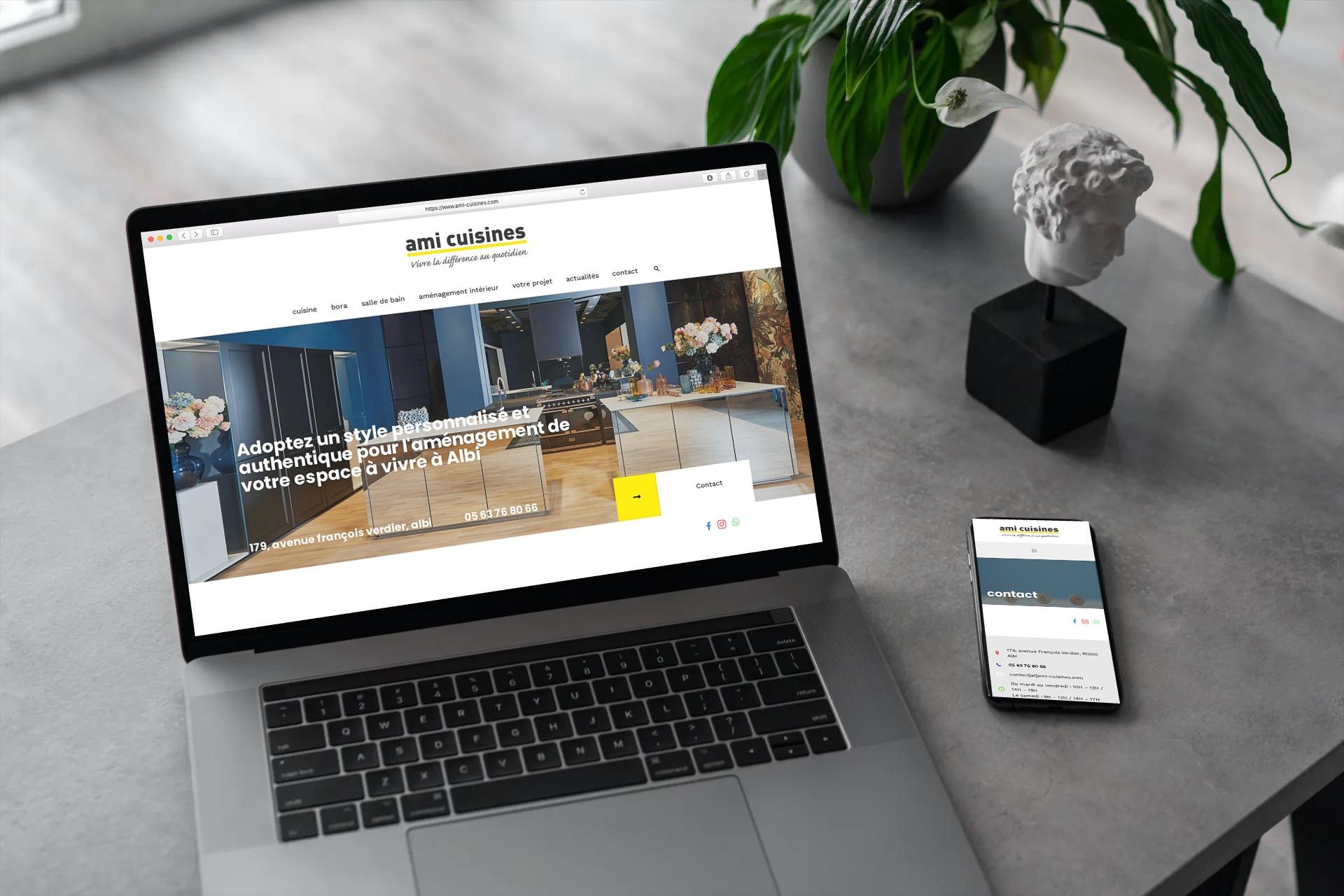 Site web pour Ami Cuisines boutique d'aménagement d'espaces